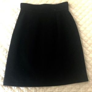 Vintage Chanel Black Wool Skirt
